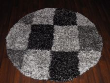 SHAGGY NEW 120X120CM CIRCLE RUGS WOVEN BACK  BLACK/SILVER/OFF WHITE LOVLEY THICK